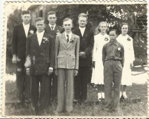 Confirmación en Hohenau III, pastor Emanuel Beckman (1952-1956).